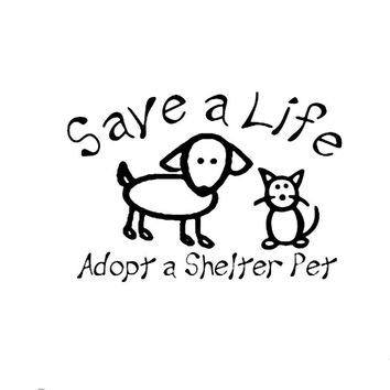 15.9CM*11CM Save A Life Adopt A Shelter Pet Car Or Truck Decal Car Sticker Car Motorcycle Accessories Black Sliver
