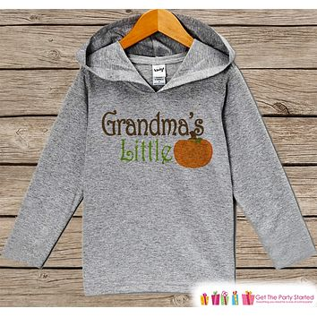 Grandma's Little Pumpkin Shirt - Kids Fall Hoodie - Boy or Girl Fall, Autumn Top - Grey Hoodie Kids Pullover - Toddler Pumpkin Patch Outfit