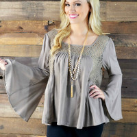 Alpine Lace Mocha Bell Sleeve Blouse