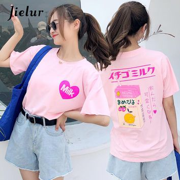 Jielur Japanese Letters Summer Tops for Women 2018 Cute Fresh Drink Pink T Shirts Harajuku Preppy Style Female T-shirts Dropship