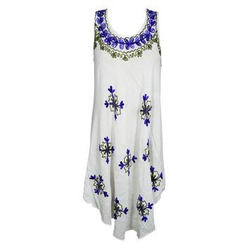Mogul Womens White Floral Embroidered Tank Dress Sleeveless Summer Style Fit and Flare Cover Up Sundress S - Walmart.com