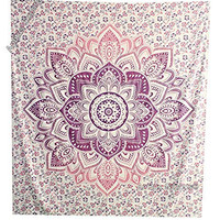 "Amitus Exports ® 1 X Flower Star Ombre 90""x80"" Approx. Inches Purple Pink Color Queen Size Cotton Fabric Multi-Purpose Handmade Tapestry Hippy Indian Mandala Throws Bohemian Tapestries"