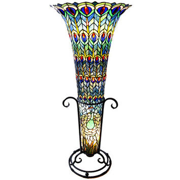 43inch H Stained Glass Tiffany Style Feathered Peacock Floor Vase Lamp