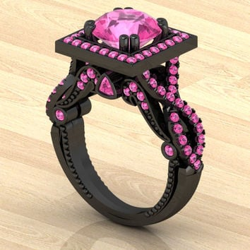 Black Gold 14 k with Genuine Pink Sapphires