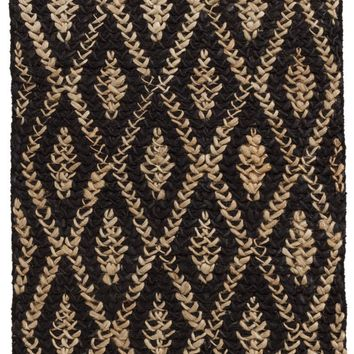 Two-Toned Diamond Black/Natural Woven Jute Rug