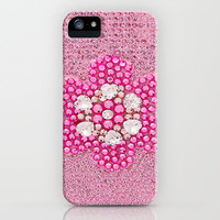 Pink Flower Crystal Bling iPhone Case by Girly | Society6