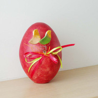 Red Easter egg sculpture, ceramic Easter egg, red egg decorated with birdies and ribbons, Greek decorative pottery