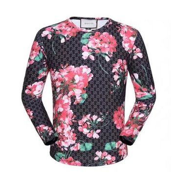 GUCCI HOT SALE Round neck letters printed long sleeve sweater Red flower pattern