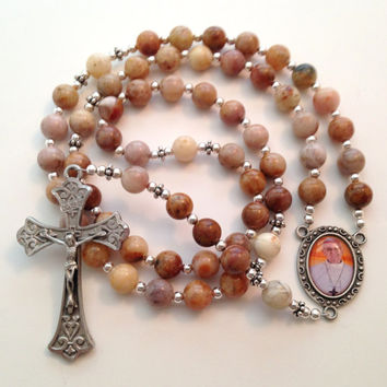 Natural Stone Rosary, Pope Francis, Morocco Agate Rosary, Silver Crucifix, Rosary Beads, Catholic Prayer Beads, Holy Rosary