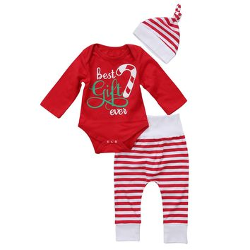 2017 Brand New 3PCS Set Newborn Toddler Infant Baby Girl Boy Clothes Romper Long Sleeve Shirt Tops Pants Hat Santa Candy Outfits