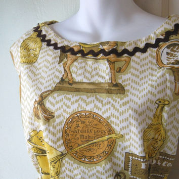 1960s Kitsch Early American Print Apron with Deep Wraparound Pocket - Mint/Unused Full Kitchen Apron - 1940s Drop Shoulder Style Apron