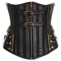 Steampunk Striped Hardware Underbust Corset - RL-SP130 by Medieval Collectibles