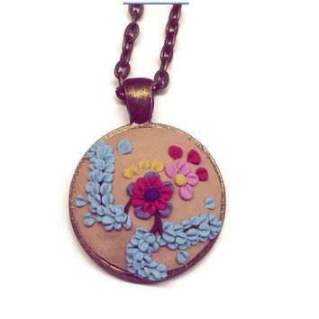 Polymer necklace beige necklace handmade flower necklace pendant women's jewelry statement jewelry bohemian gift idea gift for her charm