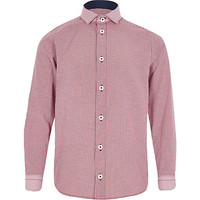 River Island Boys red long sleeve gingham shirt