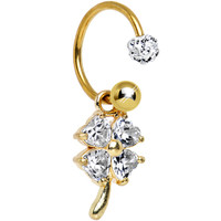 Clear CZ Gold Anodized Titanium Captivating Clover Dangle Belly Ring | Body Candy Body Jewelry