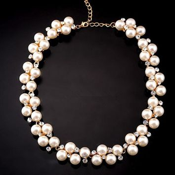 New Jewelry Pendant Crystal Chain Statement Pearl Bib Necklace