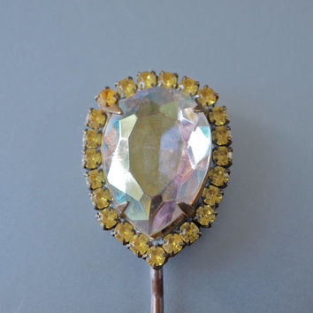 Vintage Hair Pin Czech Aurora Borealis Teardrop and Yellow Rhinestones Large Hair Jewelry Art Deco