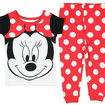 "Baby Girls' Minnie Mouse ""Big Face"" Short Sleeve 2 PC Pajama Set"