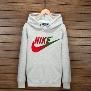 VXL8HQ NIKE Fashion Print Cotton Long Sleeve Sweater Pullover Hoodie Sweatshirt Grey G-YSSA-Z