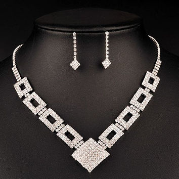 Silver Cut Out Square Jewelry Set