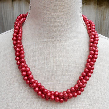 Red multi strand glass beads, Red pearl necklace, modern fashion jewelry, birthday gift, anniversary, chunky necklace, Bride necklace