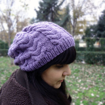 Women's winter knit hat, cable knit wool hat, slouchy hand knitted hat, chunky knit beanie, lilac winter knit hat, women's accessories