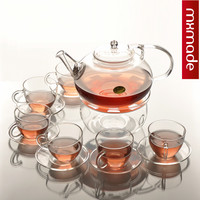 800ml Health ECO-friendly  Handmade 1  teapot  + 6 Teacup  + 6Coffe Tray  Transparent Glass Tea Set  Slip-resistant Teaports