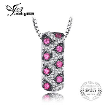 JewelryPalace Modern Round Created Ruby Pendant Necklace For Women S925 Sterling Silver Fine Accessories 45cm Box Chain Jewelry