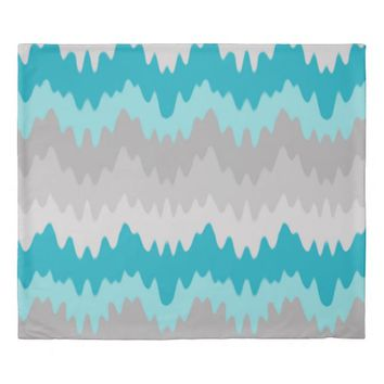 Teal Turquoise Blue Grey Gray Chevron Ombre Fade Duvet Cover
