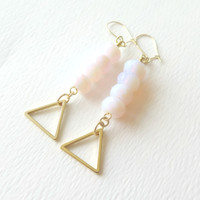 Opal Dangle Earrings with Gold Triangles