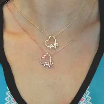 Alpha Phi Rose Gold Heart Necklace