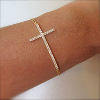 Gold Side Ways Cross Bracelet