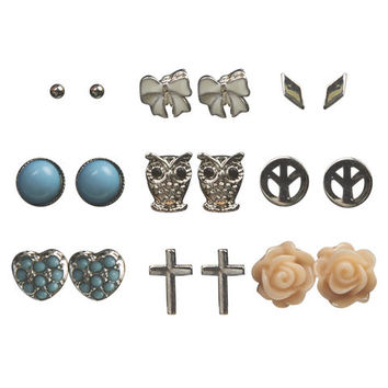 Owl Peace Button Earring 9-Pack | Wet Seal