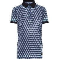 River Island Boys blue geo print burnout polo shirt