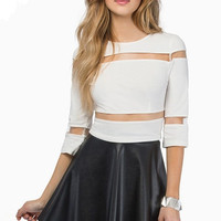 White Mesh Shoulder and Waist Cropped Top