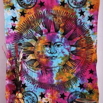 Shopnelo Home Special 1 X Psychedelic Celestial Sun Moon Stars Tie Dye Tapestry, Hippie Hippy Wall Hanging,Bedroom special Indian Tapestry, Sun-moon Tapestry, Celestial Tapestry