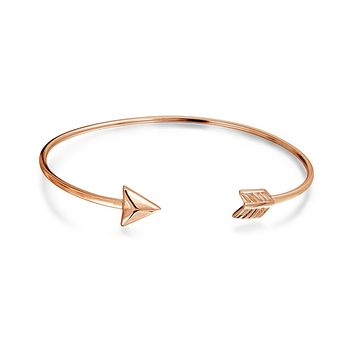 Arrow Tips Bangle Cuff Bracelet Rose Gold Plated 925 Sterling Silver