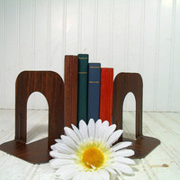Vintage Office Brown Faux Wood Metal Book Ends Library Set - Retro Desk Industrial Holder Accents - 2 Pieces Square Seventies Matching Pair