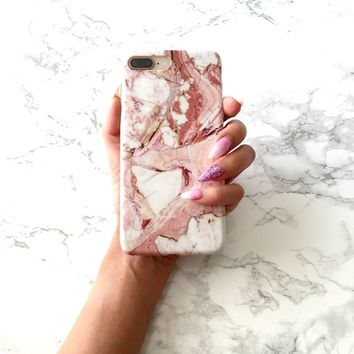 Heart Marble iPhone X 8 7 6 6s Plus Case, Red Marble Granite iPhone Case, Shock-Absorption Bumper Cover, Anti-Scratch Protective Phone Cover