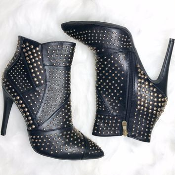 Live After Midnight Studded Black Heels