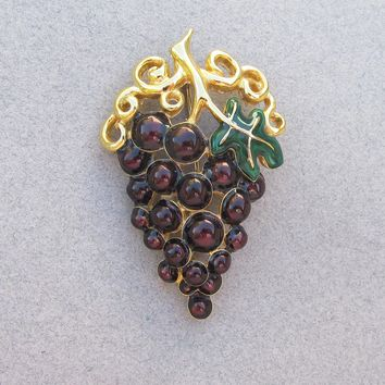 1990's Vintage Signed AK Anne Klein Grape Bunch Enamel Pin