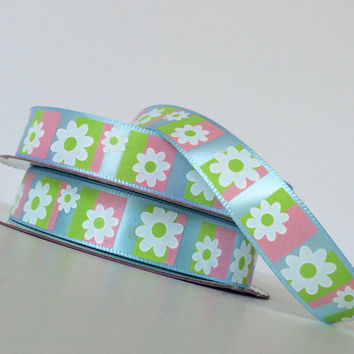 "1 yard 5/8"" satin ribbon, printed satin ribbon,daisies printed ribbon,embellishment,card making,scrapbooking,floral arrangements,sewing."