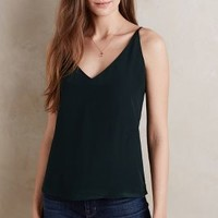 Heather Silk V-Neck Cami in Holly Size: