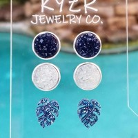 Druzy earring set- Navy/ Clear Monstra leaf drusy stud set