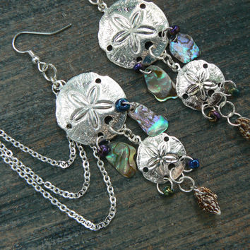 double sand dollar ear cuff  chained SET abalone seashells