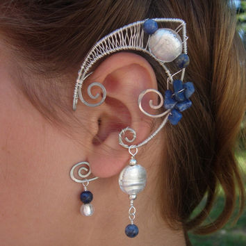 Pair of Blue Moon Faerie Ears, Blue Aventurine, Sodalite and Silver Elf Ear Cuffs, non pierced earring, Fairy, Renaissance, Elven