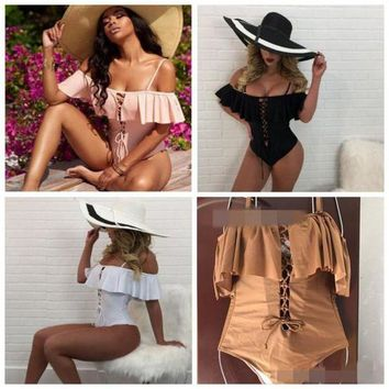 4 Colors Solid Color Ruffled Off Shoulder Bikini Set Bandage Swimwear Beach Swimsuit Brazilian One Piece Bathing Suit CCA8535 10pcs