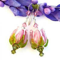 Pink and White Rose Flower Earrings, Green Swarovski Crystals Lampwork Sterling Spring Summer Jewelry
