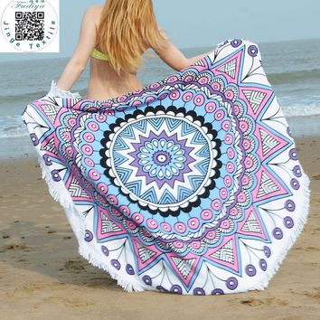2017 Hot Sale 150cm Microfiber Reactive Printing Round /Circle Beach Tapestry Towels With Tassel Toalla Playa Serviette De Plage