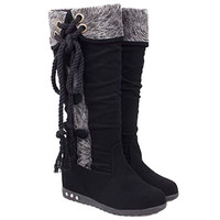 Black Side Lace Up Mid-Calf Boots With Buttons